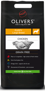 Olivers Chicken Grain Free Puppy Large Breed 12 kg.