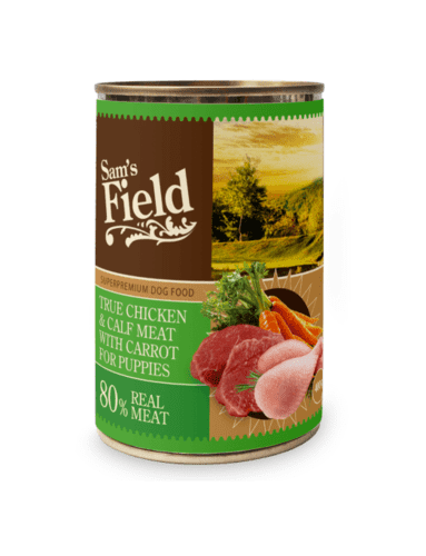 Sams Field True Chicken & Veal Meat W/ Carrot For Puppies 400g