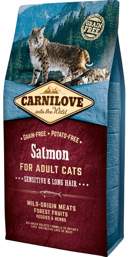 Carnilove Kattefoder - Salmon for Adult Cats – Sensitive & Long Hair 6 kg.