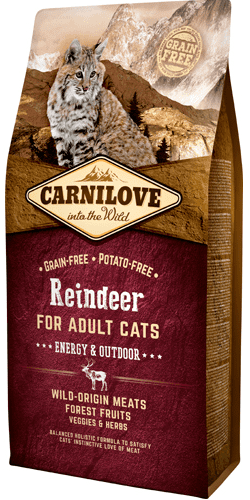 Carnilove Reindeer for Adult Cats – Energy og Outdoor 6 kg.
